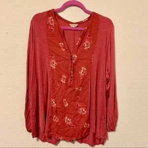 Lucky Brand Red Coral Tunic Blouse